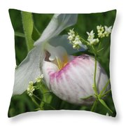 Garnished Showy Lady Slipper Throw Pillow