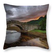 Garron Bridge Sunset Throw Pillow