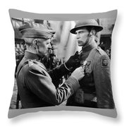 Gary Cooper Getting A Medal Of Honor As Sergeant York 1941 Throw Pillow