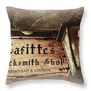 Gas Light At Lafitte's Blacksmith Shop Throw Pillow