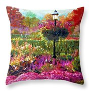 Gas Light In The Garden Throw Pillow