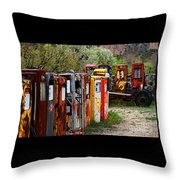 Gas Pump Conga Line In New Mexico Throw Pillow