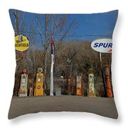 Gas Pumps And Gas Signs Panorama Throw Pillow