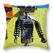 Gas Station Robot Throw Pillow