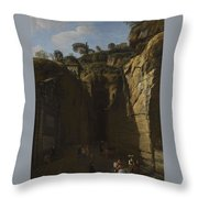 Gaspar Van Wittel  Called Vanvitelli Amersfoort 1652   1736   A View Of The Grotto At Pozzuoli With  Throw Pillow