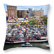 Gasparilla And Harbor Island Florida Throw Pillow