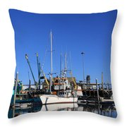 Glassy Harbor Reflection Throw Pillow