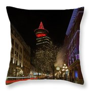 Gastown In Vancouver Bc At Night Throw Pillow
