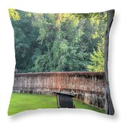 Gate And Brick Wall At Shiloh Cemetery Throw Pillow