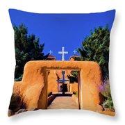 gate of church in Ranchos Throw Pillow