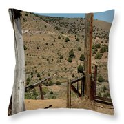 Gate Out Of Virginia City Nv Cemetery Throw Pillow