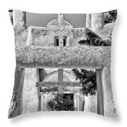 Gate To Ranchos Church Black And White Throw Pillow