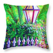 Gate With Lantern Throw Pillow