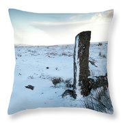 Gatepost In The Snow Throw Pillow