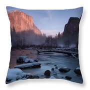 Gates Of The Valley In Winter Throw Pillow