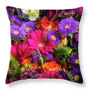 Gathered Garden Flowers Throw Pillow