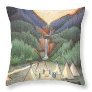 Gathering At The Falls Throw Pillow