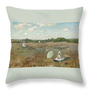 Gathering Autumn Flowers By William Merritt Chase Throw Pillow