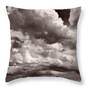 Gathering Clouds Over Lake Geneva Bw Throw Pillow
