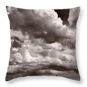 Gathering Clouds Over Lake Geneva Bw Throw Pillow