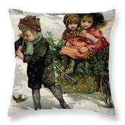 Gathering Holly Throw Pillow