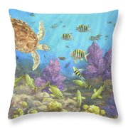 Gathering In The Reef Throw Pillow