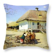 Gathering Near The Homestead Throw Pillow