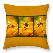 Gathering Pollen Triptych Throw Pillow