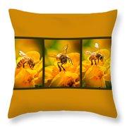Gathering Pollen Triptych Throw Pillow