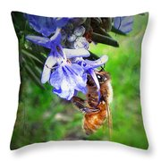 Gathering Rosemary Pollen Throw Pillow