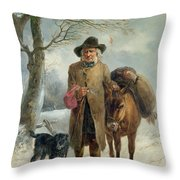 Gathering Winter Fuel  Throw Pillow by John Barker