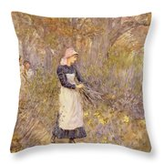 Gathering Wood For Mother Throw Pillow