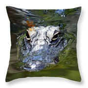 Gator And Dragonfly Throw Pillow