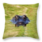 Gator In The Green - Digital Art Throw Pillow