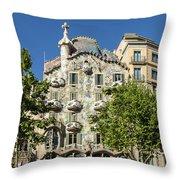 Casa Batillo - Gaudi Designed  - Barcelona Spain Throw Pillow