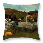 Gauguin: Swineherd, 1888 Throw Pillow