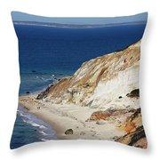 Gay Head Cliffs And Beach Throw Pillow