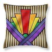 Rainbow Art Deco Throw Pillow