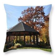 Gazebo At North Ridgeville - Autumn Throw Pillow
