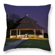 Gazebo During The Blue Moments Frankfort Il Throw Pillow
