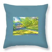 Gazebo On Onion Creek Throw Pillow