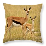 Gazelle Mother And Child Throw Pillow