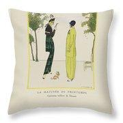 Gazette Du Bon Ton 1914   No  4  Pl  36  La Matinee De Printemps  Costumes Tailleur De Doucet  J  M Throw Pillow