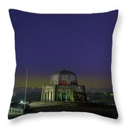 Gazing Stars At Vista House On Crown Point Throw Pillow