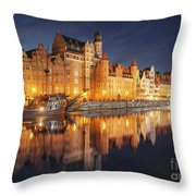 Gdansk By Night Throw Pillow