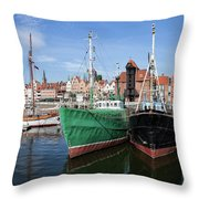Gdansk Old Town Skyline From The Harbour Throw Pillow