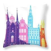 Gdansk Skyline Pop Throw Pillow