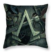 Gear Head Steampunk  Throw Pillow