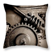 Gear In Sepia Throw Pillow
