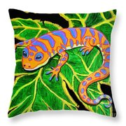 Gecko Hanging On Throw Pillow